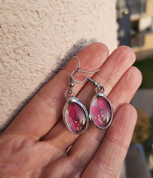 Kolczyki z różową Werbeną