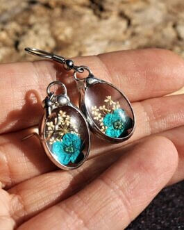 Kolczyki z turkusowym kwiatkiem