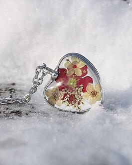 Szklane Serce z Czerwoną Werbeną