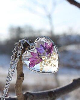 Szklane Serce z fioletowym Chabrem