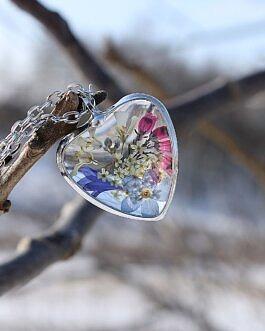 Szklane Serce z Niezapominajką
